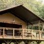 Verhuur glamping Lodge tent Luxe in de Midi-Pyrenees - Occitanie, Ariege, Frankrijk : overdekt terras