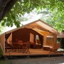 Glamping accommodatie tent Cotton Lodge Nature in de Midi-Pyrenees - Occitanië, Ariege, Frankrijk : buiten
