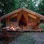 Glamping accommodatie tent Cotton Lodge Nature in de Midi-Pyrenees - Occitanië, Ariege, Frankrijk : dineren vakantie