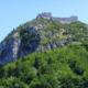 Château cathare de Montségur en Midi-Pyrénées Occitanie