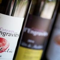 Auswahl lokaler französischer Weine auf dem Campingplatz in Ariege, Okzitanien, Frankreich
