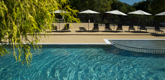 Large new and secure swimming pool at La Serre campsite in France, Midi-Pyrenees