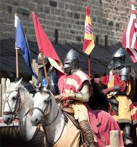 Middeleeuws toernooi in Carcassonne Occitanie, Frankrijk